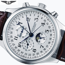 Mens Mechanical Watches Mens Watches Top Brand Luxury Date Week Moon Phase Watch Men Leather Waterproof Automatic Watch Clock cheap Mechanical Wristwatches Automatic Self-Wind Luxury ru Stainless Steel 22cm Buckle 3Bar 40mm Auto Date Complete Calendar