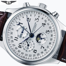 Montre mécanique en cuir pour hommes, accessoire de marque, luxe, Phase de lune, à horloge automatique, étanche