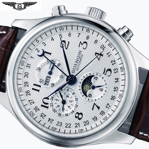 Mecânicos dos Homens Relógios de Marca Couro à Prova Relógios Superior Luxo Data Semana Lua Fase Relógio Masculino Dwaterproof Água Automático