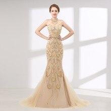 b49f11c13cfd 2019 nueva moda sin mangas-cultivo oro Eppliqued de perla de cristal con el  lujo de cinturón vestido de noche hecho en China
