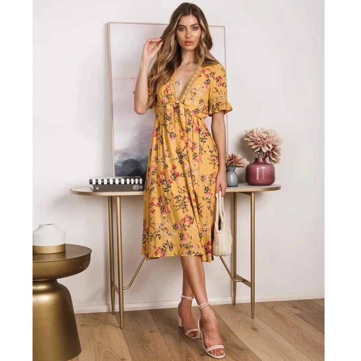 Floral Chic Midi Dress Women Short Sleeve Lace Bow Trim V neck Vintage Dress Summer Clothes 2019 Boho Beach Party Hippie Dress