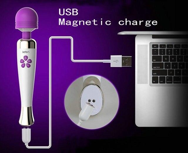 Leten recargable 10 modo 7 velocidad potente AV producto varita mágica masajeador vibradores juguetes sexuales para mujer producto AV sexual masturbador femenino 689543