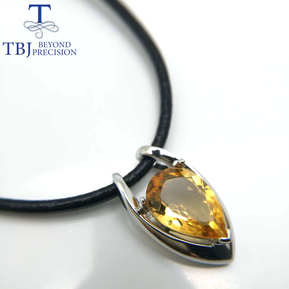 TBJ ,V shape pendant in 925 sterling silver with nautral citrine with gift box,elegant design pendants