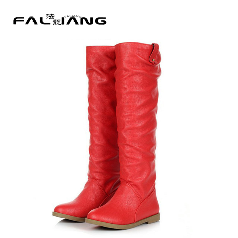 ФОТО In the spring and autumn season, ladies fashion contracted their flat boots black White red brown You can choose 34-40 size