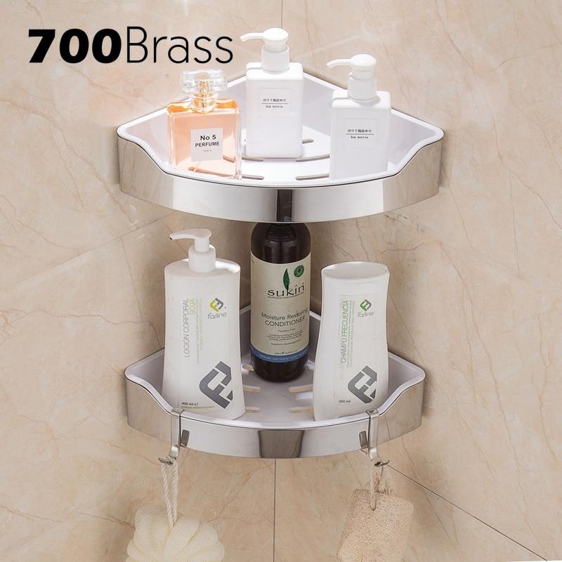 Stainless Steel 304 Modern Bathroom Shelf Removable Abs Plastic Corner Wall Shower Bath Holder Rack With Hooks