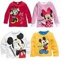Caliente venta 1 unidades primavera 100% algodón de manga larga blusas Mickey Minnie Kid prendas de vestir exteriores bebé / ropa del muchacho, niños de dibujos animados camisetas