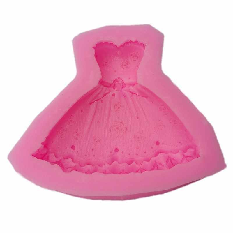 Cozinha DIY Creative 3D Tee Vestido Molde de Silicone Fondant de Chocolate Bolo de Senhora Vestido de Princesa Saia Tutu Ferramentas do Cozimento A822