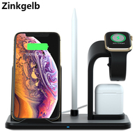 3 in 1 Wireless Phone Charger for iPhone XS Max 10W Qi Fast Charging Wireless Charging Stand for AirPods 1 2 Apple Watch 1 2 3 4