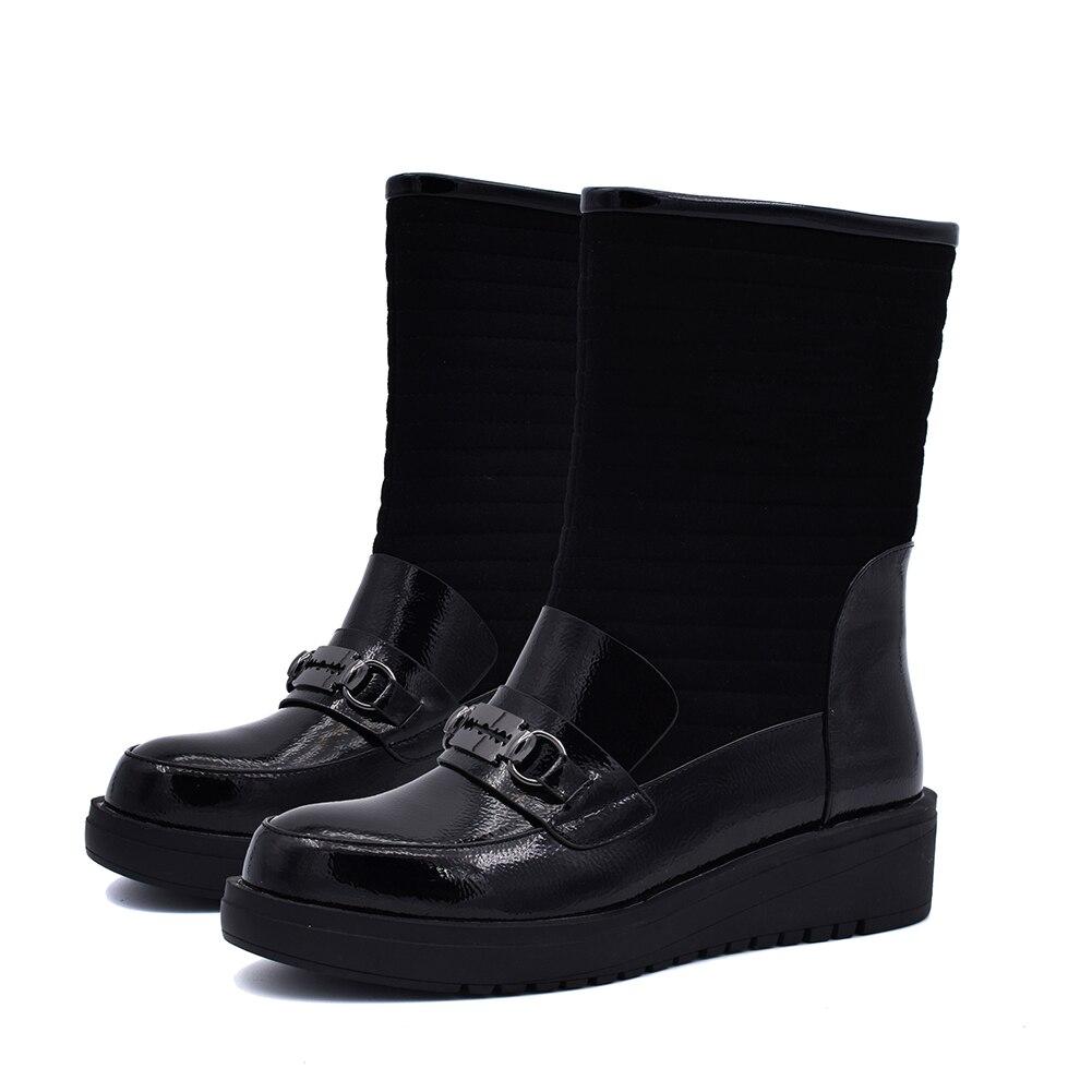 Chaud Sur Chaussures D'hiver Neige mollet Décoration Mi Métal Femme forme black Femmes Casual Karinluna Bottes Add 2018 En Plush Plate Slip Noir AwnX4q