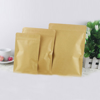 50pcs Flat Brown Kraft Paper Bags For Gifts/candy/tea/food/wedding Not Window No Stand Up Zipper Kraft Bags Crafts Packing Bag 50pcs lot 9x14cm brown stand up grip seal craft paper dried food nuts snacks package bag zip lock kraft paper clear window bag