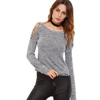 Fashion Dashing Hollow Out Long Sleeve Women Clothing Autumn Casual Tee Shirt Grey Marled Crisscross Open