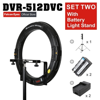 FALCONEYES 31W 512 Ring LED Photography Continuous Panel Light W/Camera Bracket//Battery/Charger/LightStand DVR-512DVC SET TWO