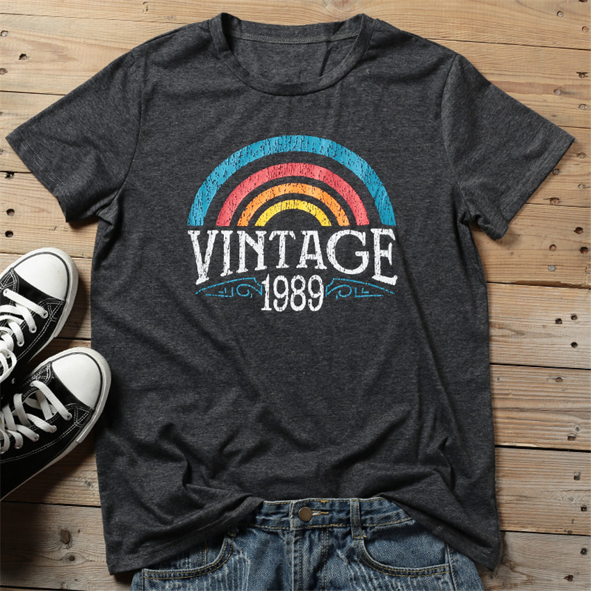 2019 Summer T-shirt Women Rainbow Print Vintage Tops Tee Female Casual O-neck Tees Lady Tee Shirt Femme Camisetas Verano