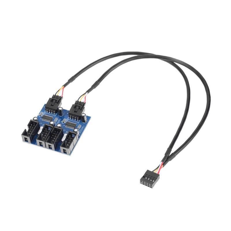 9Pin USB Header Male 1 to 4 Female Extension Cable Card Desktop 9-Pin USB HUB USB 2.0 9 pin Connector Adapter 30cm Length Cable 50cm usb3 0 20pin female to usb 3 0 20 pin male extension cable motherboard mainboard 20pin header adapter cable extender hy1379
