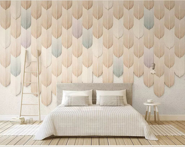 8d creative color relief feather wall paper mural 3d stereoscopic