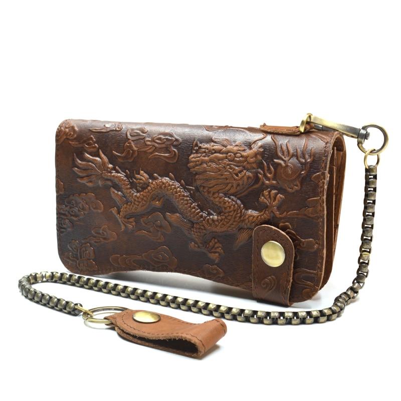 Férfi pénztárca valódi bőr sárkány tehénbőr kártya táska - Pénztárcák