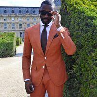 Ultime mutanda del cappotto progetta orange casuale su misura da uomo blazer vestito Ha Raggiunto Il Picco Risvolto Slim Fit 2 Pezzo Vestidos De Fiesta C