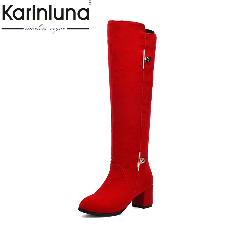 KARINLUNA Large Size 31-43 Fashion Black Woman Boots Round Toe Chunky High Heels Keep Warm Winter knee-high Boots Woman Shoes