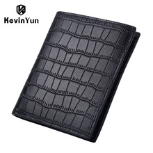 KEVIN YUN Designer Brand Men Wallets Genuine Leather Male Short Purse Card Holder
