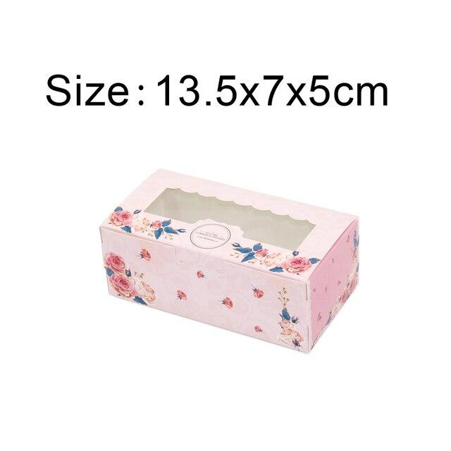 50 sztuk papieru pudełko z okienkiem wesele różowy Rose wieniec Kraft PAPIEROWE PUDEŁKO ciasto żywność opakowania cukierki ciastko ciastko