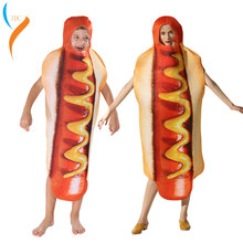 2019 New Funny 3D Print Sausage Cosplay Hot Dog Costumes Child Cartoon Halloween costume for Kids Food Carnival boy Fancy Dress