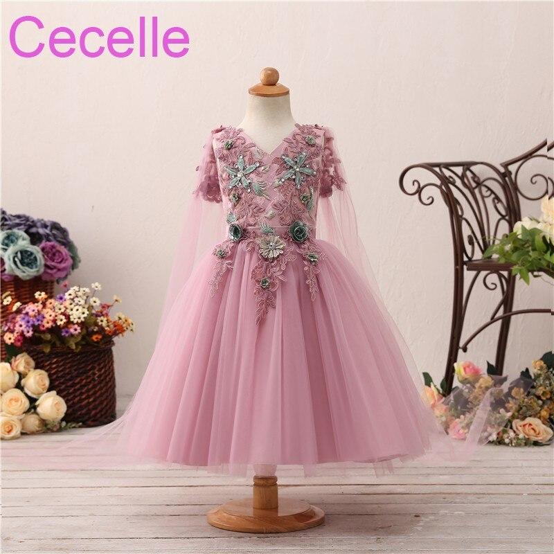 2019 Dusty Pink Short Cute   Flower     Girls     Dress   For Wedding Sleeveless Lace Princess Little   Girls   Wedding Party   Dress   With Cape