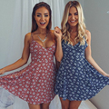 Fashion Floral Printing High Waist Hollow Lace Waist Patchwork Sexy Sleeveless Dress Sexy Mini Sling Dresses
