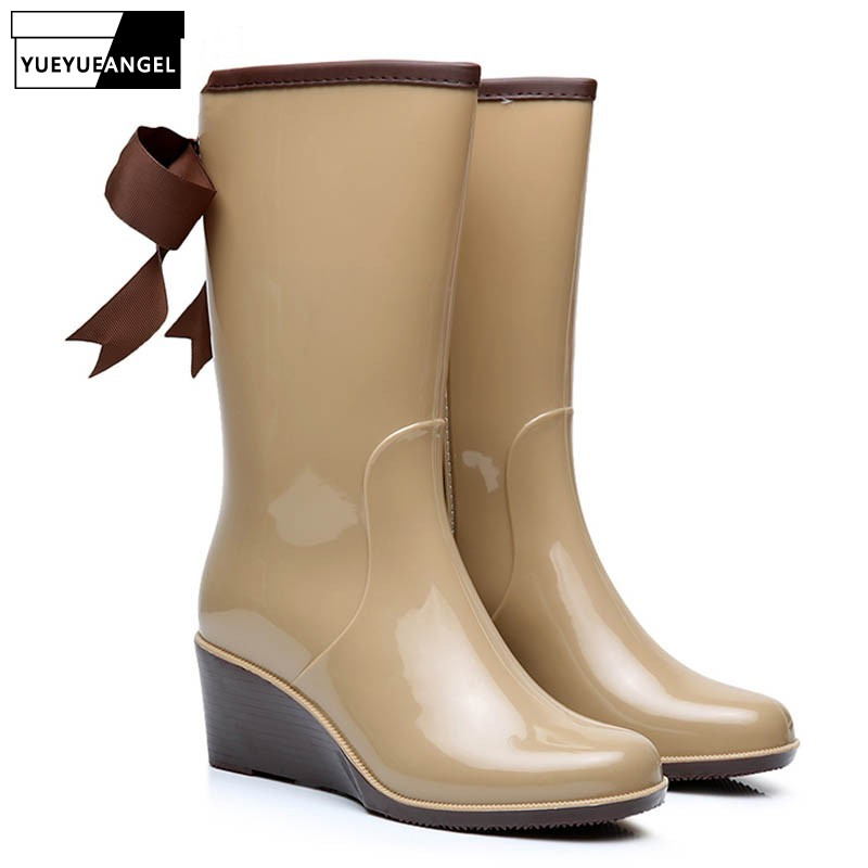 In Mode Für Heels Us44 Gummistiefel Mid Kalb Regen Frau Gummi Wadenhohe 4 Damen Stiefel Schuhe neue 44Off Boot Hohe Frauen 23 Stil Keil Ankunft dxWrBoCe