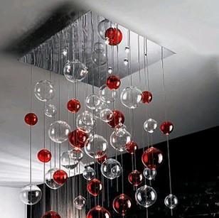 50 Cm Moderne En Verre Rouge Bulle Cristal De Lampe De Plafonnier