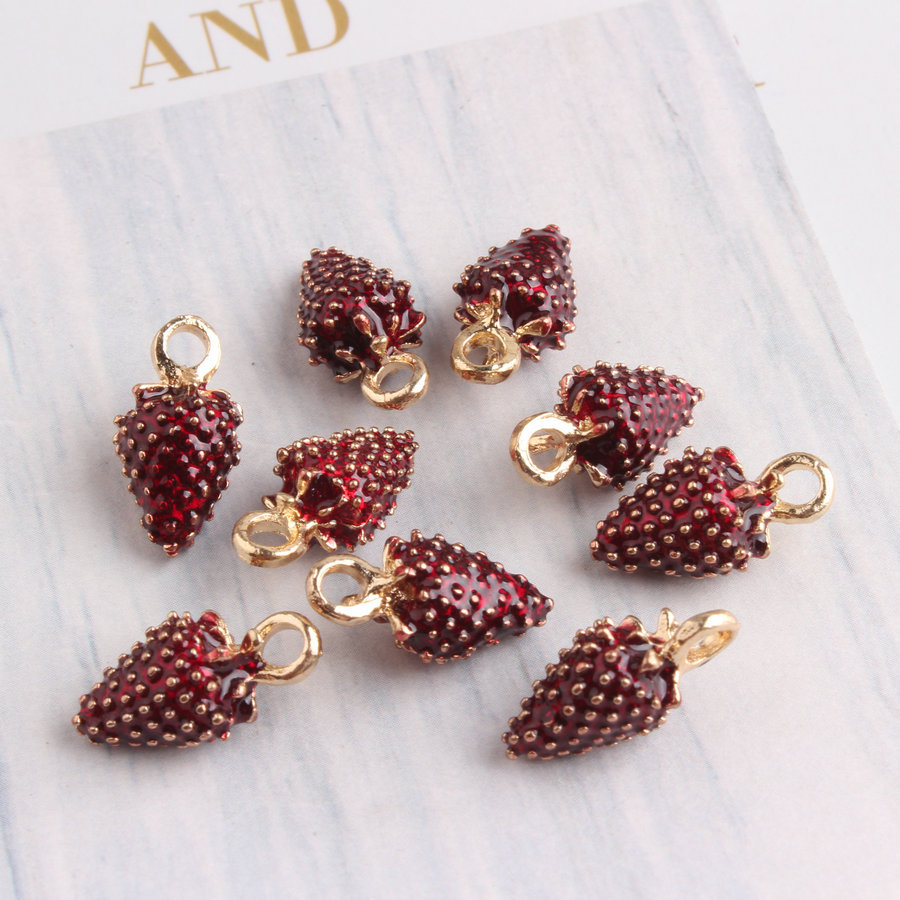 20pcs/lot New Jewelry Accessories Charm Red Color Fruit Charm Pendant for Bracelet Earring Necklace Making
