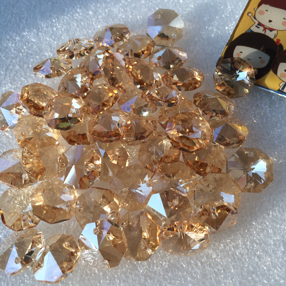 Free Shipping 500pcs lot 14mm Champange Crystal Octagon beads in 2 holes For Glass Curtain Beads