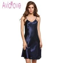 Avidlove Fashion Women Slip Dress Sexy V Neck Spaghetti Strap Sleepwear Nightwear Casual Soild Pajamas Sexy