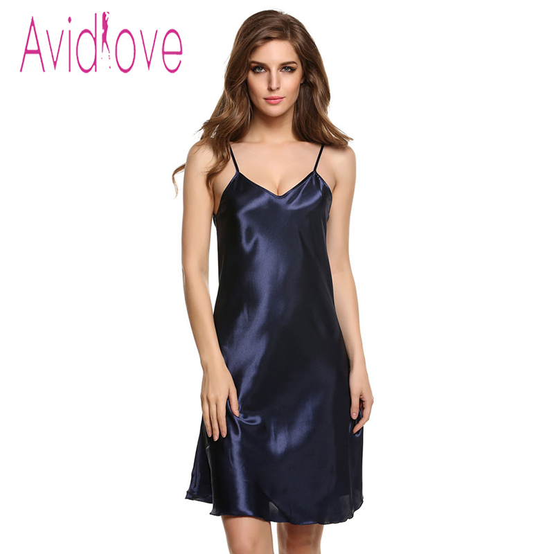 Avidlove Sexy Home Wear Sleep Dress Women Satin Sleepwear Nighties Sexy V-Neck Nightgown Plus Size Lingerie Nightwear Peignoir