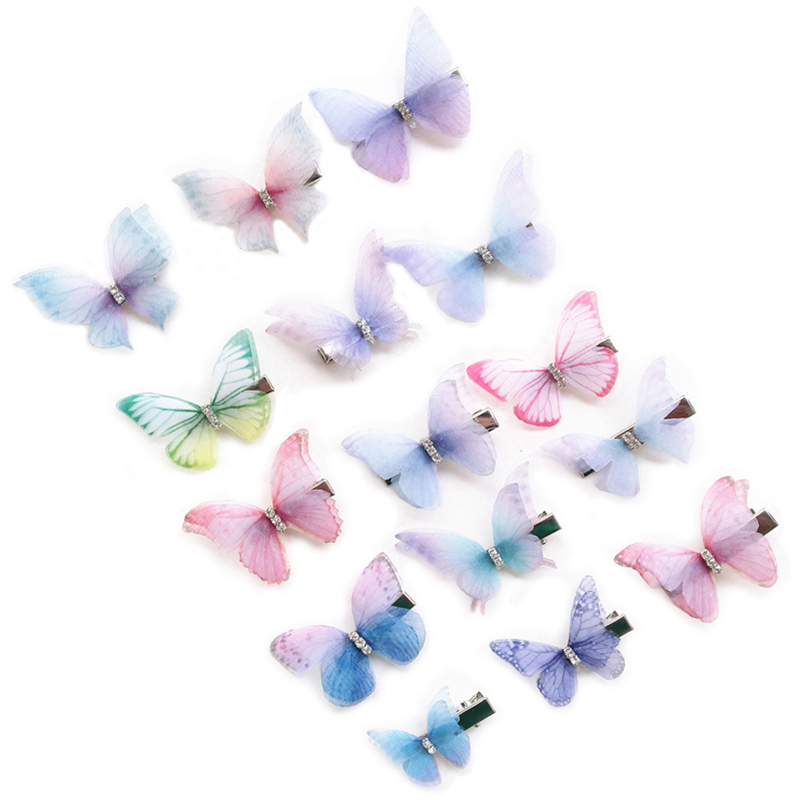 80pcs Rhinestones Double Layers Tulle Butterfly Hair Clip For Women Girls Hairpin Gauze Butterfly Hair Accessories