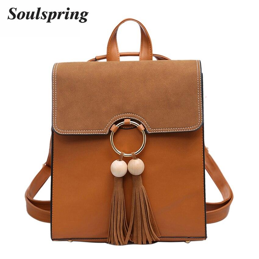 2017 Brand Scru Pu Leather Backpack Women Fashion Tassel School Bags For Teenage Girls Brown Backpack Metal Ring Sac A Dos New цена и фото
