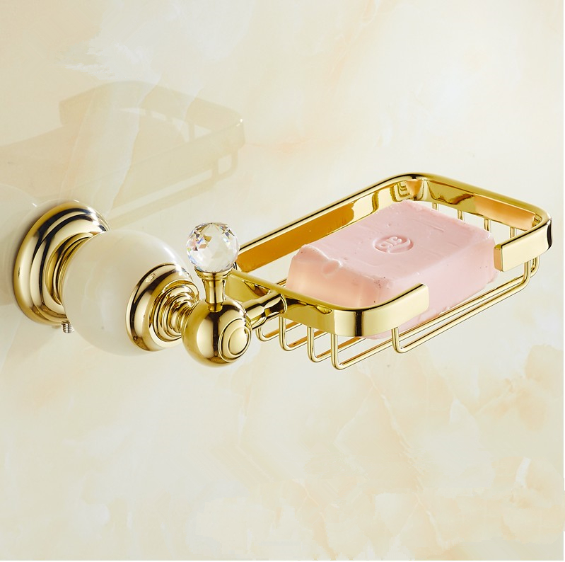 Bathroom Accessories,Luxury Natural Marble Style Gold finish Brass Soap basket/soap dish/soap holder,Crystal Hardware european style brass antique bronze solid brass bathroom soap holder soap basket bathroom accessories soap dish bathroom shelf