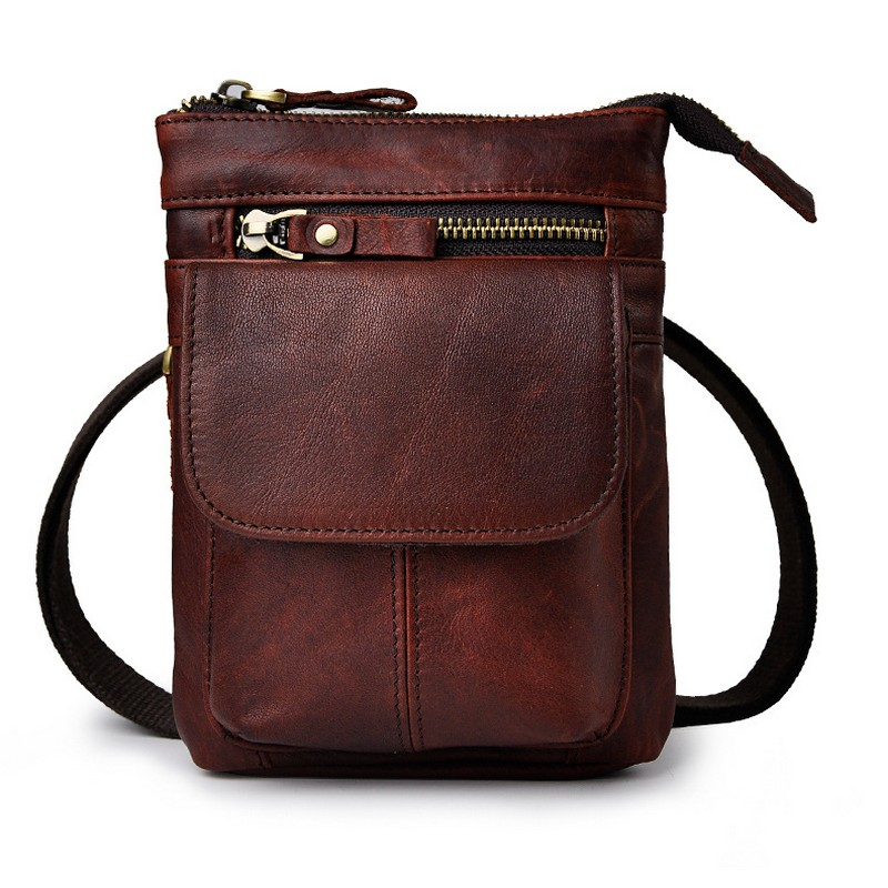 New Top Quality Genuine Real Leather Cowhide men vintage Brown Small Hook Belt Messenger Bag Waist Pack Phone Case bag vintage bags real genuine leather cowhide men waist pack pouch for men leather waist bag outdoor travle belt wallets vp j7144