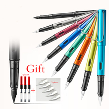 Купить онлайн Роскошный цвет Пластик тела авторучка EF чернилами для написания тонкой подпись ручка Школа Офис Supplie Caneta канцелярские 03855