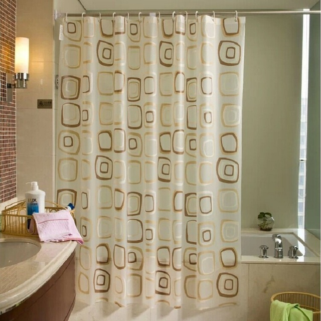 2016 WaterProof Bath Curtain Square Plaid Pattern Home Decor Bathroom Mouldproof PEVA Fabric Shower YL41