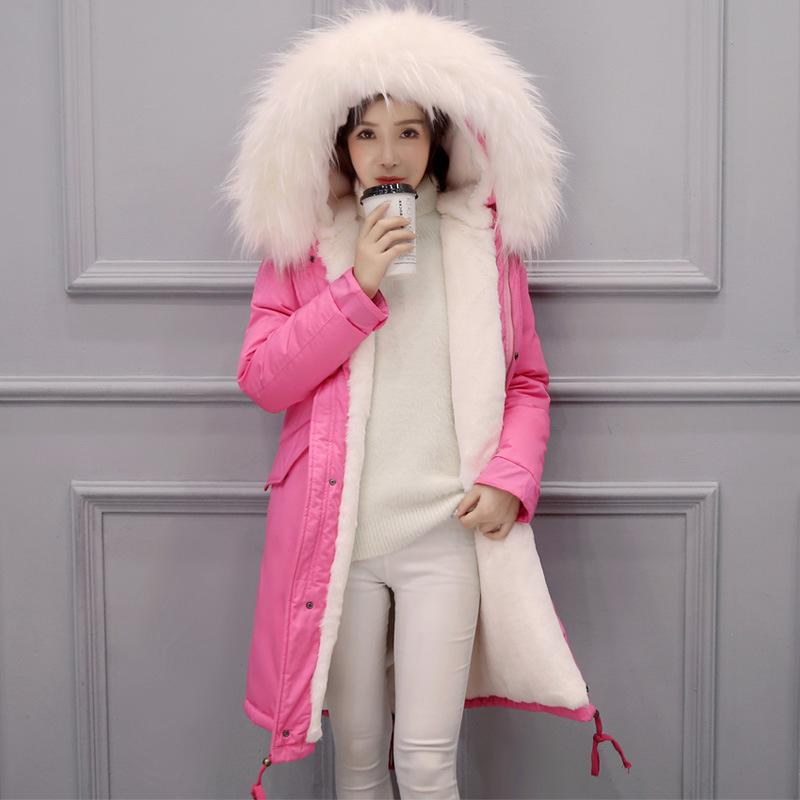 Winter Jacket Women Fashion Warm Big Fur Collar Long Coats Cotton-padded Thicken Outerwear Ladies Casual Hooded Down Jackets  brand new 2015 men fur hooded cotton padded coats fashion winter women thicken jackets couples overcoats outerwear h4395