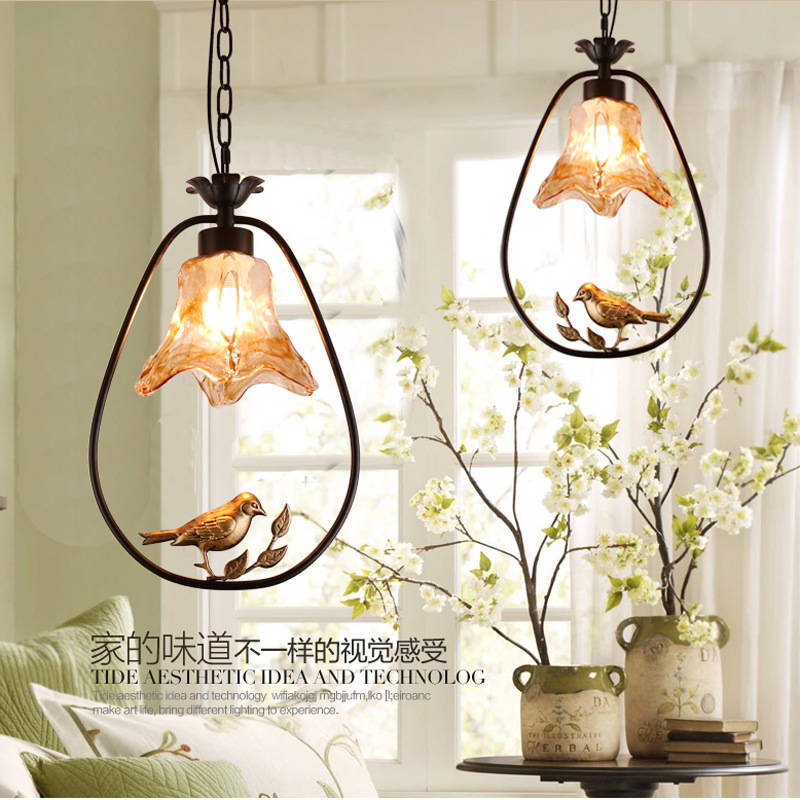 American Modern iron bird Pendant Lights creative Art novelty Indoor birdcage Hanging lighting pendant lamp fixture