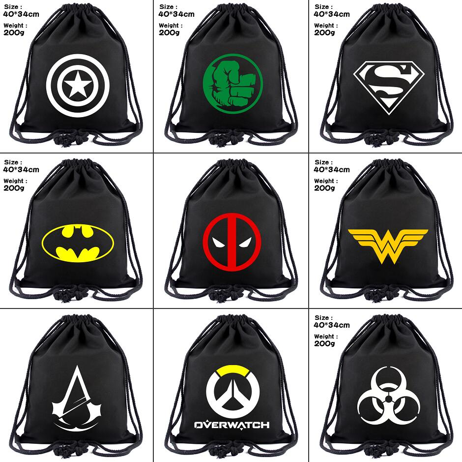 Superhero Deadpool Batman Captain America Canvas Drawstring Backpack Wonder Woman Women Cosmetic Container Beach Bag Shoes Pouch