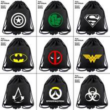 Superhero Deadpool Batman Captain America canvas Drawstring Backpack Wonder Woman Women Cosmetic Container Beach Bag Shoes Pouch(China)