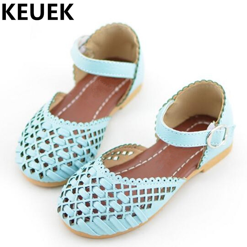 NEW Summer Gladiator Sandals Girls Flats PU Leather Cut Outs Children Sandals Casual Flat With Baotou
