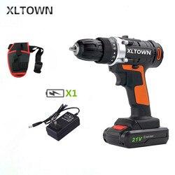Xltown21v bateria de lítio recarregável chave de fenda elétrica chave de fenda ferramentas furadeira elétrica doméstica de alta qualidade dobro da velocidade