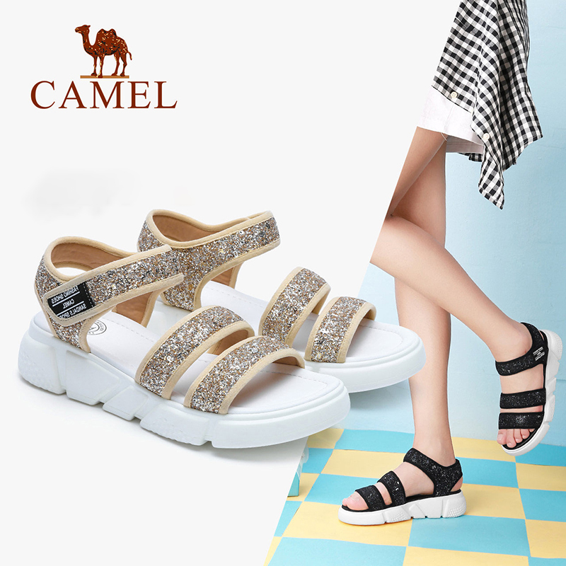 CAMEL Women Casual Sandals 2018 Summer Fashion Sandals Sequin Sandals Flat Heel Expose Toe Shoes Buckle sandals mvvjke summer women shoes woman genuine leather flat sandals casual open toe sandals women sandals