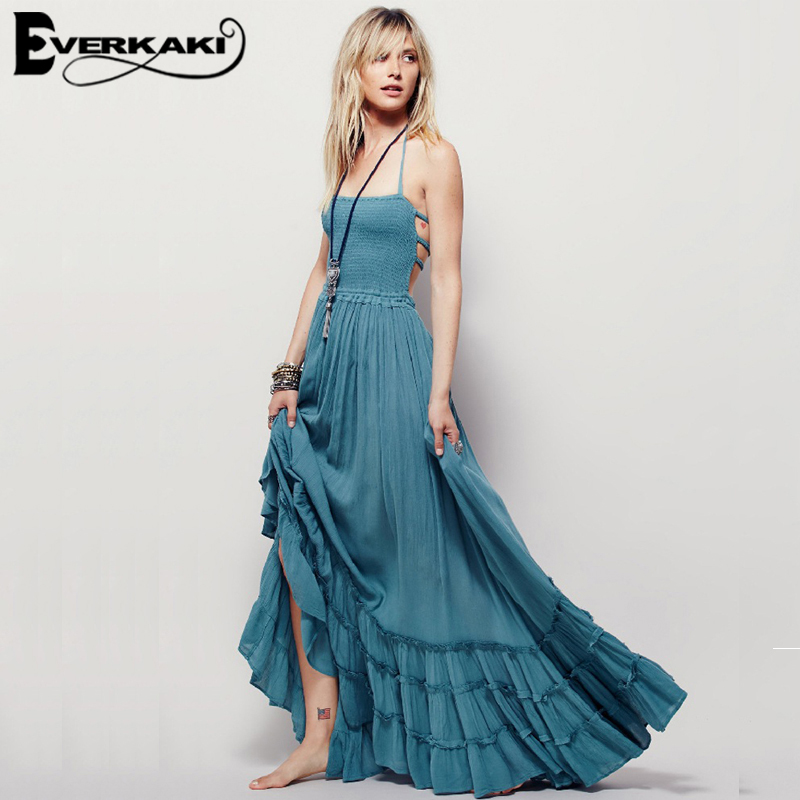 Everkaki Women Elegant font b Maxi b font Beach font b Dress b font Backless Suspender