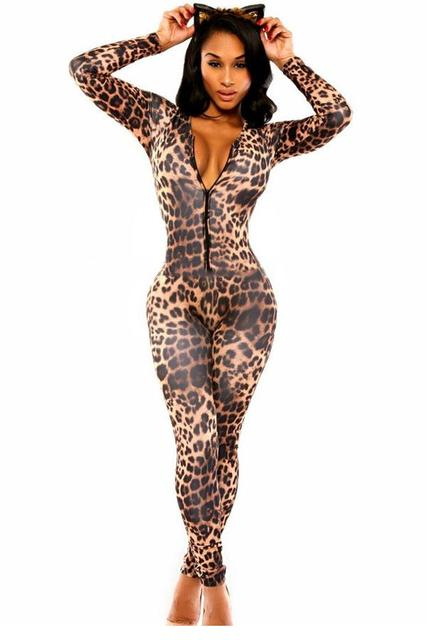 New Women Trendy Sexy clubwear jumpsuits 2017 spring long sleeve bodycon overalls female Fashion Kitten Club Catsuit LC6961