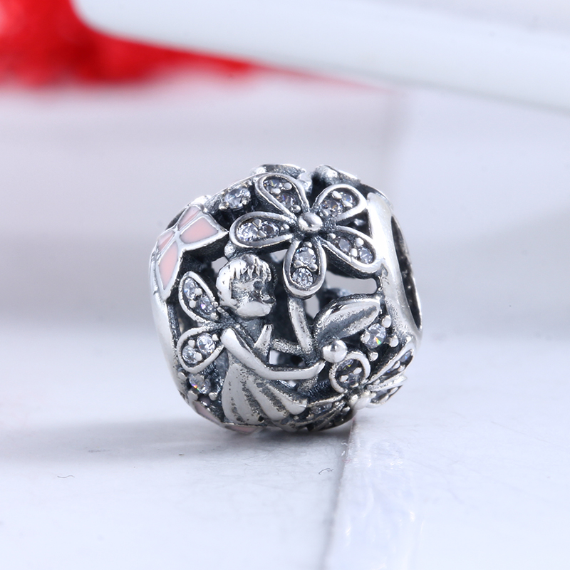 100% 925 Sterling Silver Fit Original Pandora Bracelet Dazzling Daisy Fairy Charms DIY CZ Charm Beads for Jewelry Making