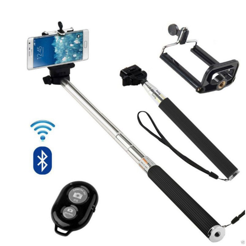 Tycipy Selfie Stick + Bluetooth Shutter With Button + Phone Holder For Iphone  Xiaomi Samsung For Ios Android